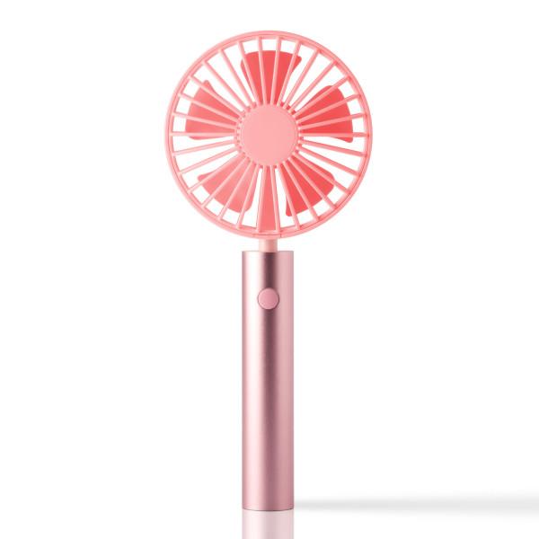 FLOW Handventilator rose-pink mit schwenkbarem Kopf. Akku Handlüfter rosa. Tragbarer Ventilator + Standfuß. USB Design Ventilator aus Metall.