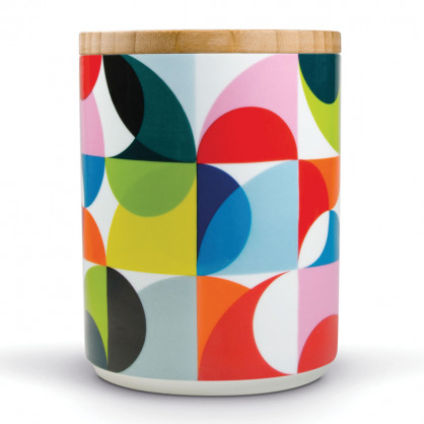 Vorratsdose aus Porzellan mit Holzdeckel und Kreismuster - Modell SOLENA von Remember