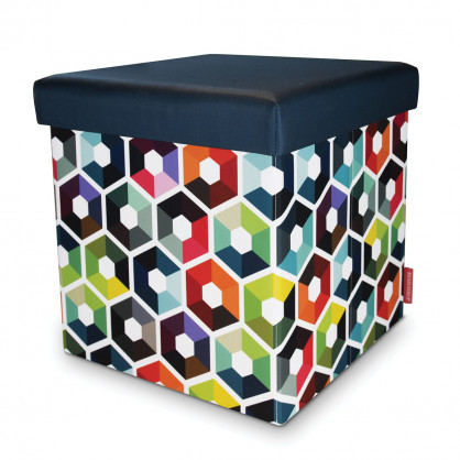 Sitting Box Hexagon von Remember - faltbarer Hocker mit Stauraum 38 x 38
