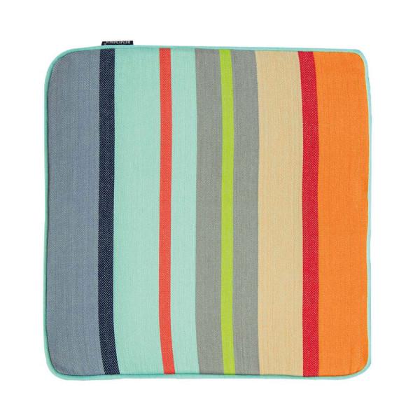 Farbenfrohes, quadratisches Sitzkissen MALTA 40 x 40 cm bunt gestreift - Sitzauflage von Remember Design.