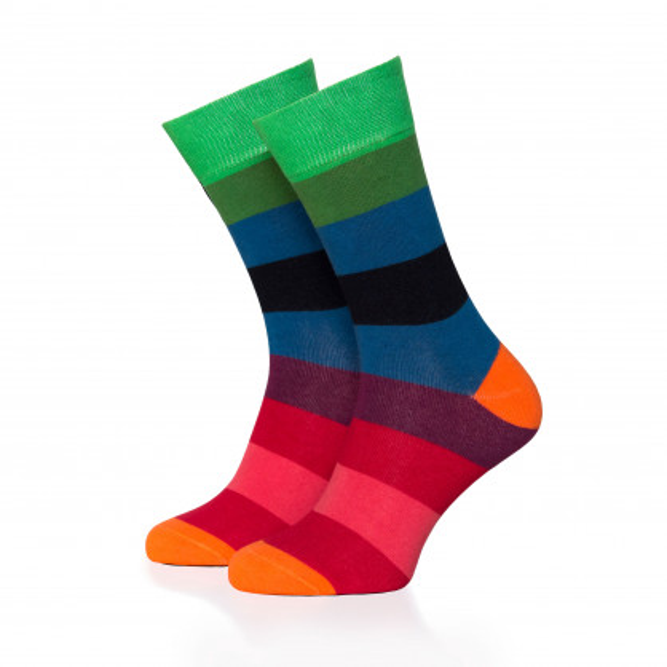 Bunt gestreifter Damen Socken #01 von Remember Design. Ringelsocken bunt gestreift. Frauen Design Fashionsocken bunt Gr. 36-41