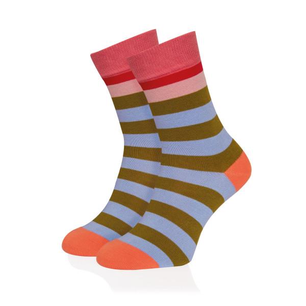 Bunt gestreifter Damen Socken #16 von Remember Design.  Ringelsocken bunt gestreift. Frauen Design Fashionsocken bunt Gr. 36-41