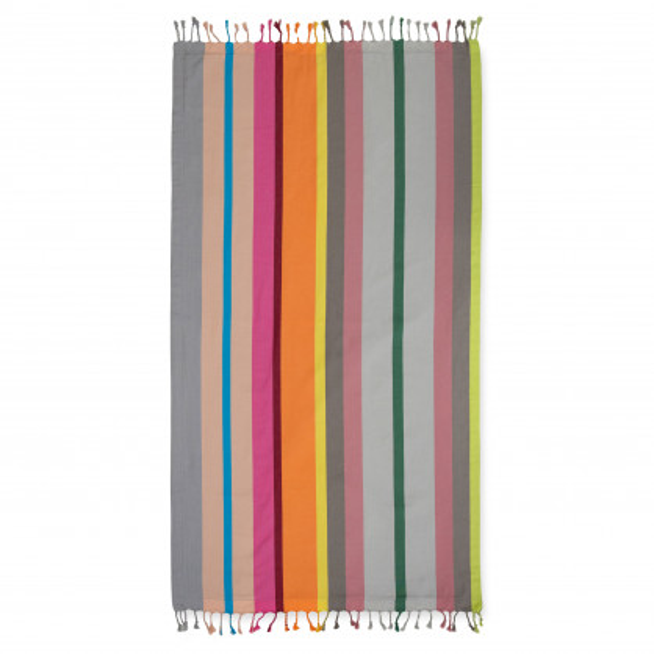 Gestreiftes Strandtuch Marina. Buntes Badehandtuch, Saunatuch, Strandtuch ... Hamam Handtuch Beach Towel von Remember Design.