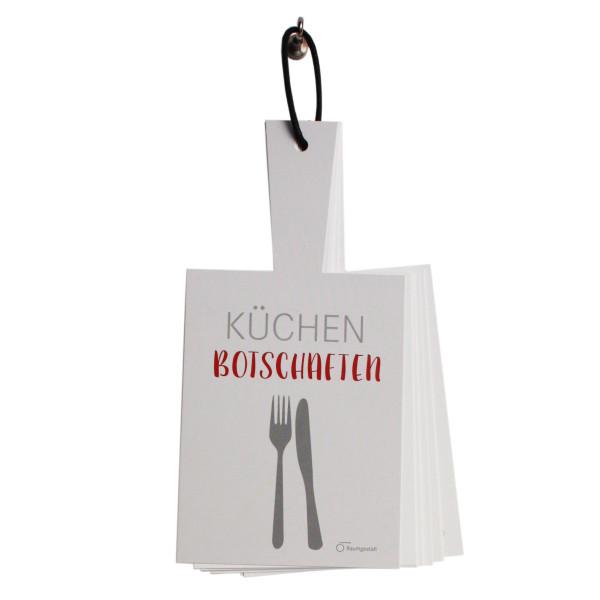Küchenbotschaften von Raumgestalt. 20 unterschiedliche Karten mit Botschaften und Sprüchen zum Aufhängen.