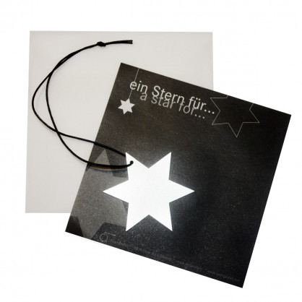Raumgestalt Ein Stern für ... - Metallstern: ein ca. 6 cm großer Stern aus Edelstahl im Umschlag.