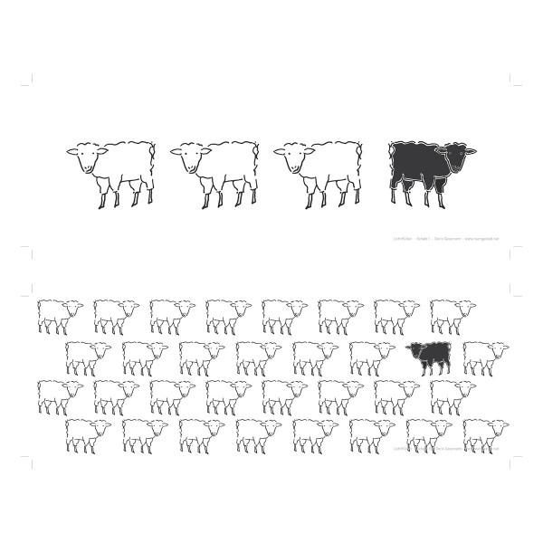 Lichthüllen Schaf von Raumgestalt - Motiv in Großaufnahme.