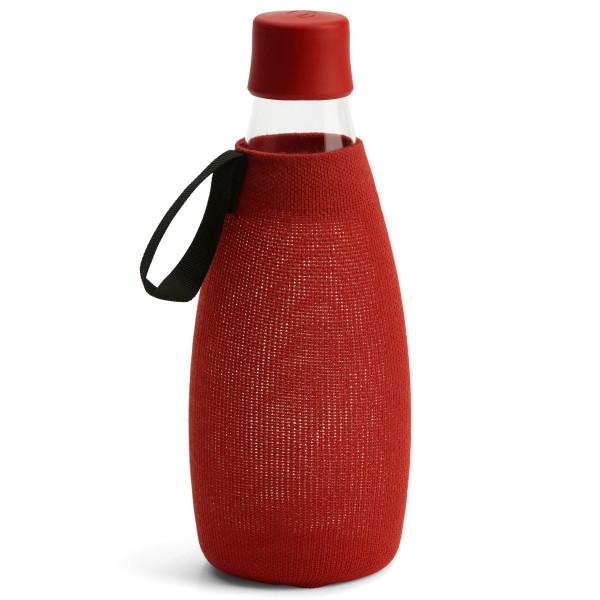 Rote Schutzhülle / Sleeve für die Glas Trinkflasche 0,8 Liter von Retap