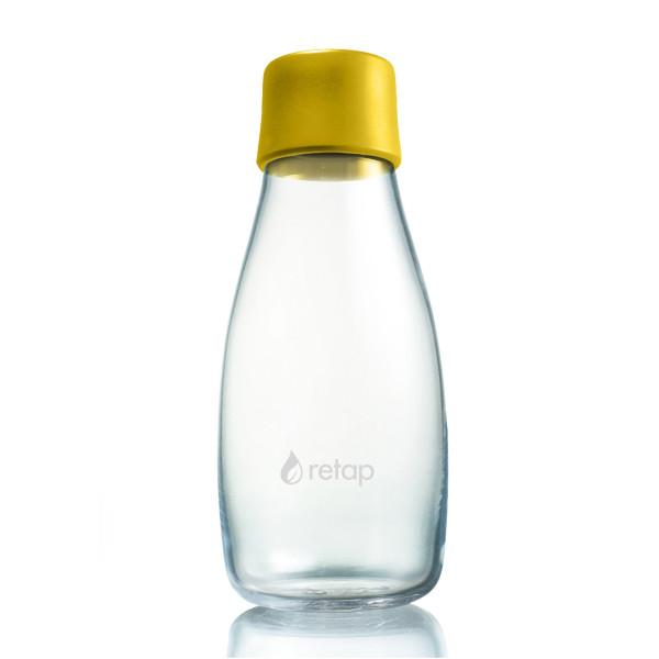 Retap Trinkflasche 03: Glasflasche mit Kunststoffdeckel aus Silikon in mustard yellow ( senfgelb ). Retap Glasflasche 0,3Liter.