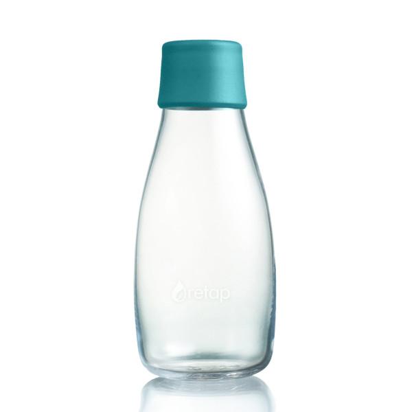 Retap Trinkflasche aus Glas mit Druckdeckel in petroleum blau.