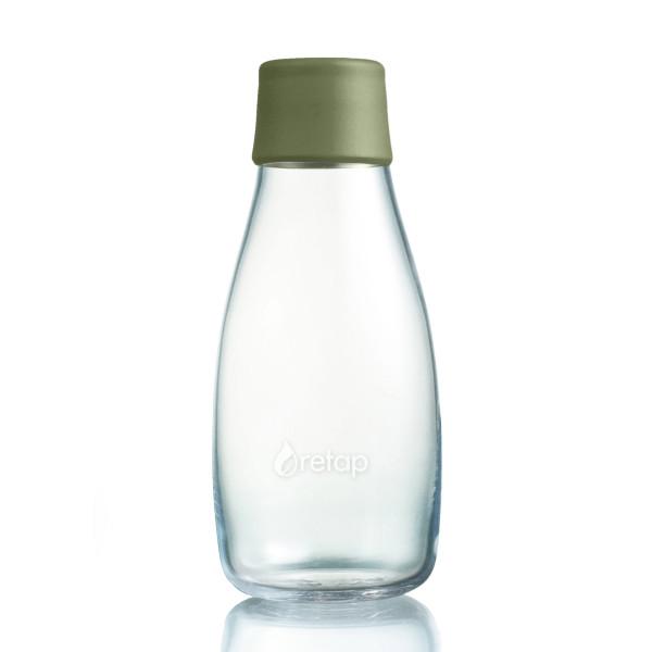 Retap Trinkflasche aus Glas 0,3 L mit olivegrünem Deckel.