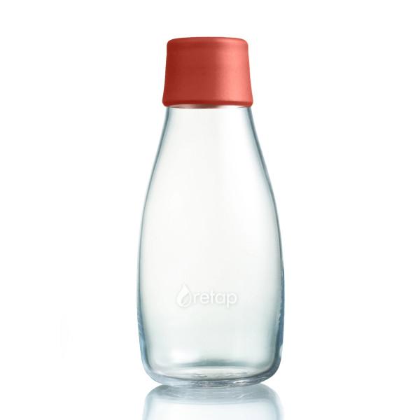 Retap Trinkflasche aus Glas 0,3 L mit dunkelroten Deckel dusty red.