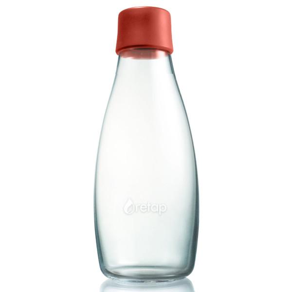 Retap Trinkflasche aus Glas 0,5 L mit dunkelroten Deckel dusty red.