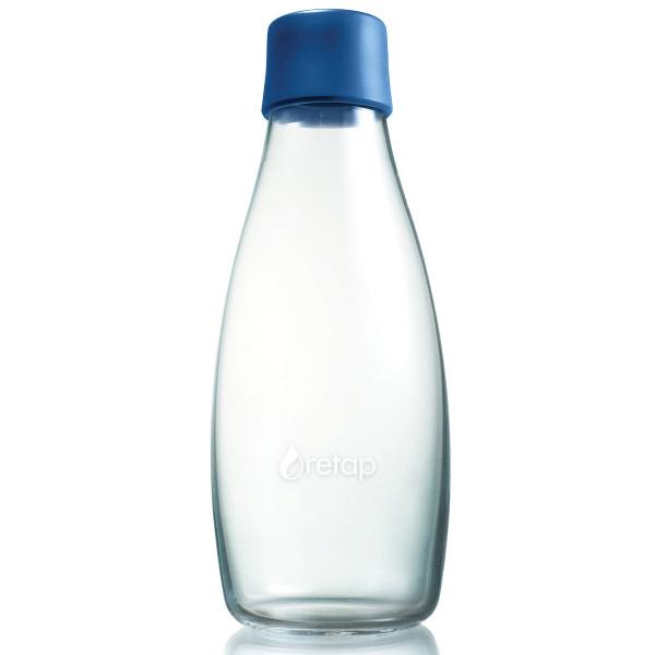 Retap Trinkflasche 0,5l aus Borosilikatglas mit dunkelblauem Deckel.
