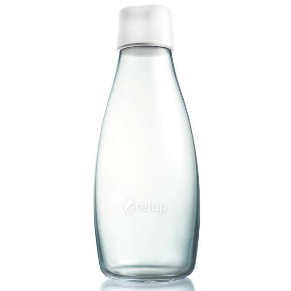 Retap Trinkflasche 0,5l aus Borosilikatglas mit gefrostetem weißen Deckel.