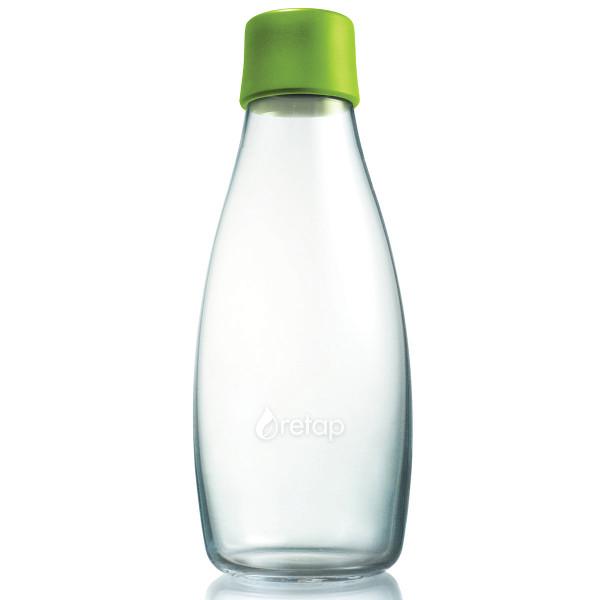 Retap Trinkflasche 0,5l aus Borosilikatglas mit hellgrünem Deckel.