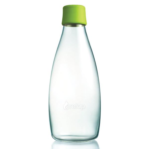Retap Trinkflasche 0,8l aus Borosilikatglas mit hellgrünem Deckel.