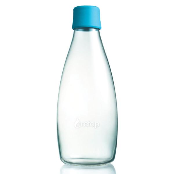 Retap Trinkflasche 0,8l aus Borosilikatglas mit türkisblauem Deckel.