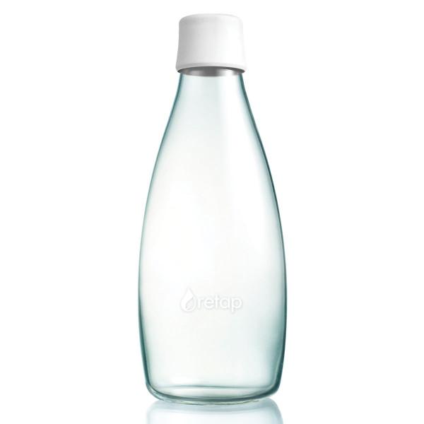 Retap Trinkflasche 0,8l aus Borosilikatglas mit gefrostetem weissen Deckel.