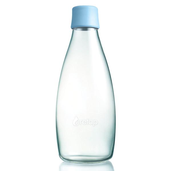 Retap Trinkflasche 0,8l aus Borosilikatglas mit hellblauem Deckel.