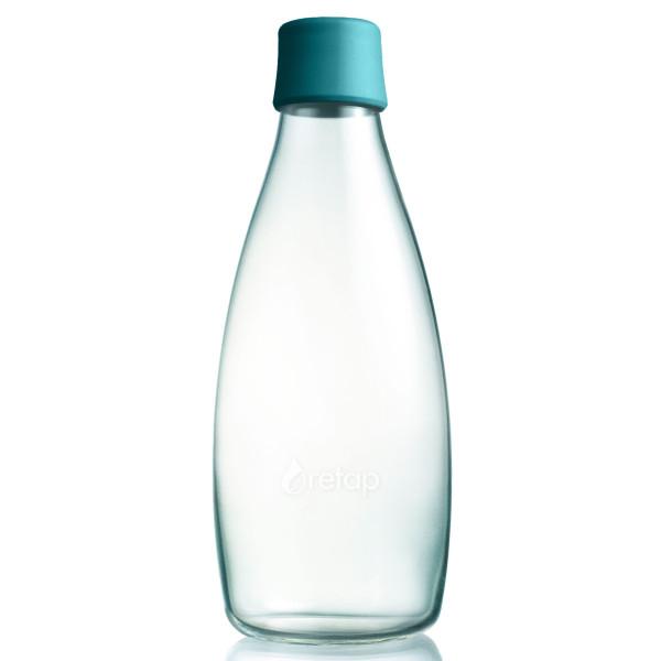 Design Trinkflasche Retap 0,8 Liter mit petrolgrünem Deckel. Die Glasflasche für Büro, Zuhause und unterwegs.