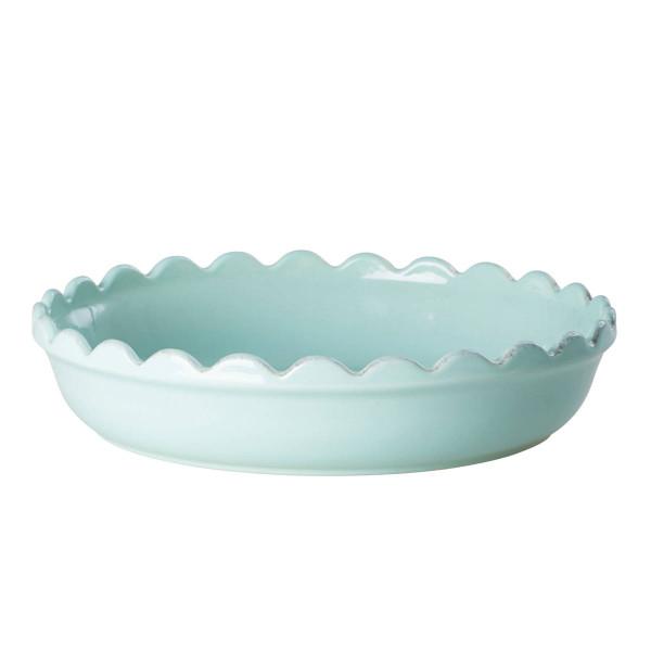 Ofenform / Servierschale aus Keramik mit Wellenrand in mint von RICE Denmark. Aus der Geschirrserie Portugal. Handmade.