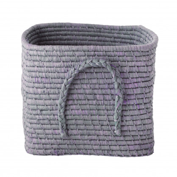Korb mit geflochtenem Bast-Griff / Square Basket Raffia lavender von RICE Denmark - Henkelkorb aus Bast lila