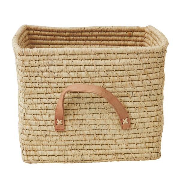 Korb mit Ledergriff / Square Basket Raffia natur
