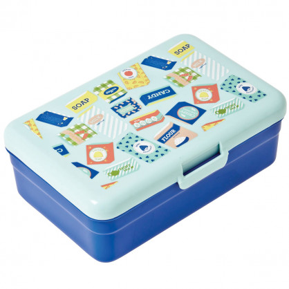 Lunchbox groß, Grocery Print blue