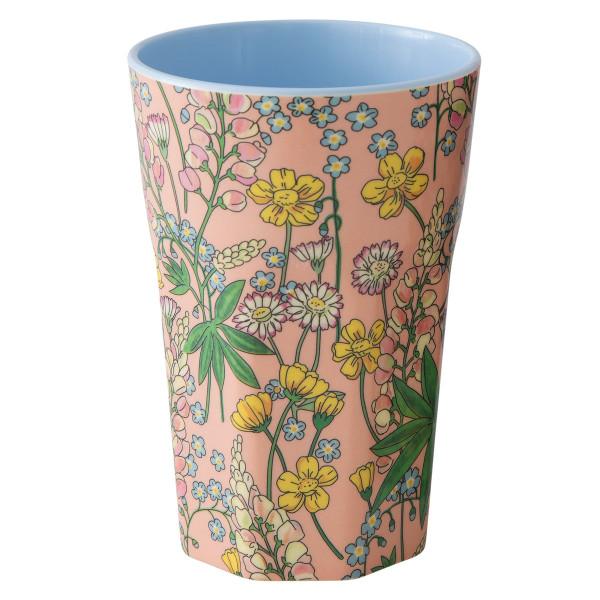 RICE Trinkbecher mit Lupin Print. Melaminbecher mit Blumen Motiv.