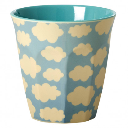 Melamin Becher medium, Cloud Print blau