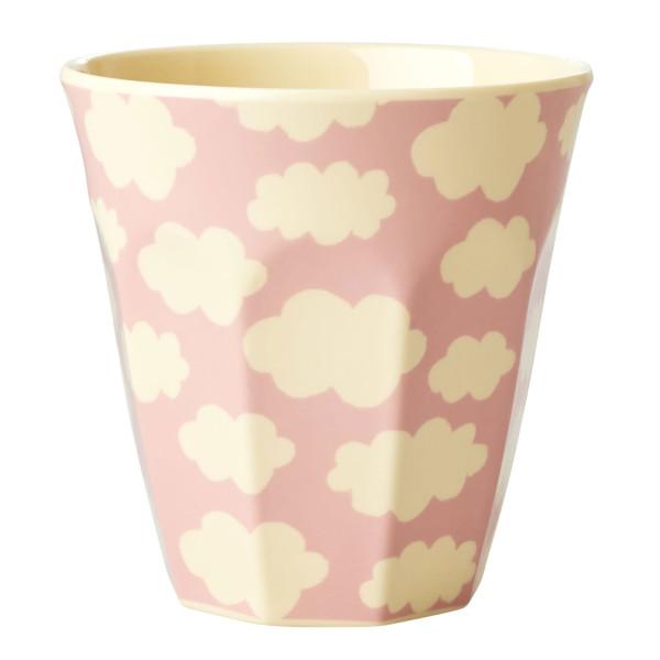 Melamin Becher von Rice - Modell Cloud - Becher in rosa mit weißen Wölkchen