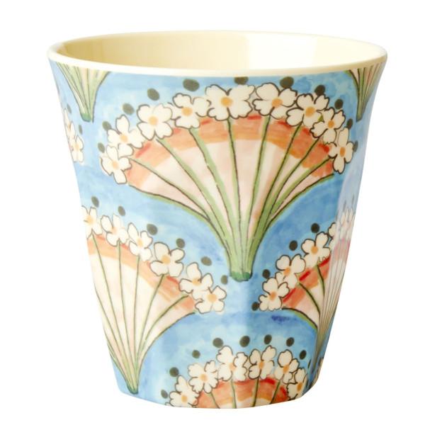 Becher mit Blumenfächer Motiv von RICE Denmark. Two Tone Becher aus Melamin mit Flower Fan Print!