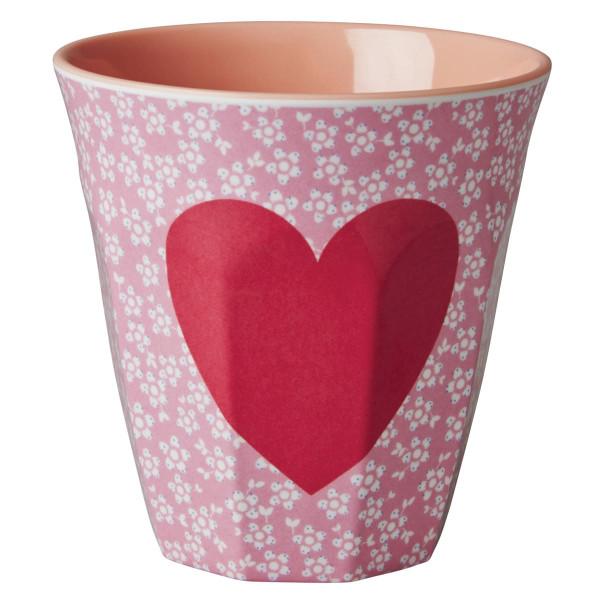 Melamin Becher medium, Pink Flower - Herz