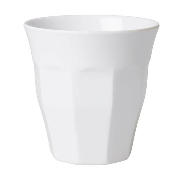 Melaminbecher medium RICE - Weißer Trinkbecher aus Melamin - Kunststoffbecher weiß - Becher MELCU - BPA-frei, robust, stapelbar, spülmaschinengeeignet - RICE Denmark