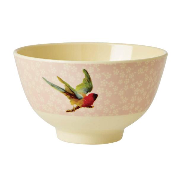 Schale aus Melamin - small, Soft Pink Flower and Bird Print