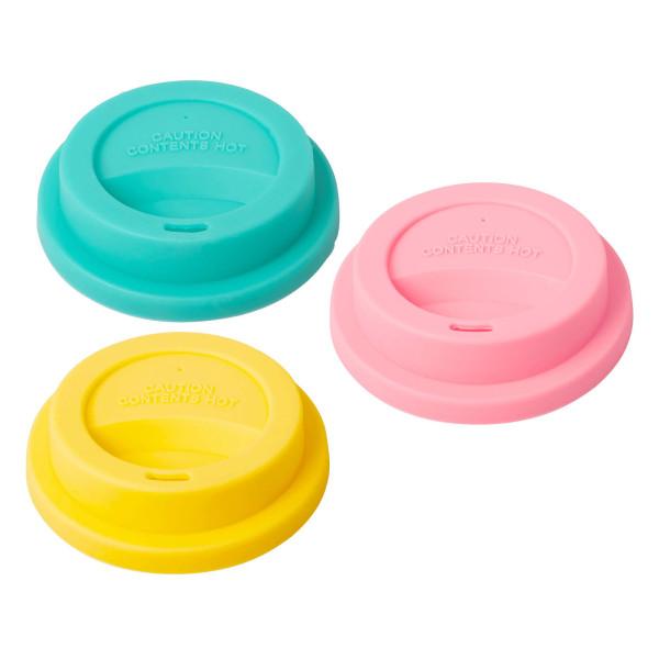 Bunte RICE Coffee To Go Becher Deckel aus BPA-freien Silikon. Kaffeebecher Deckel Set für Melamin Trinkbecher von RICE.