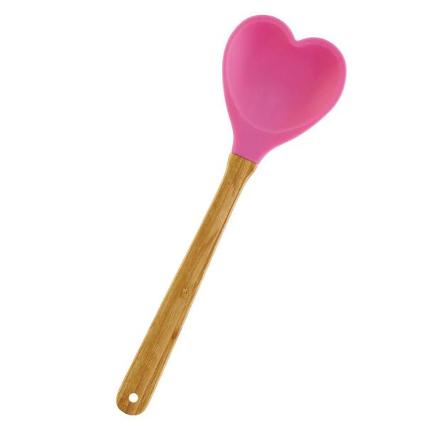 Silikonlöffel / Küchenspatel Herz in pink von Rice Denmark.