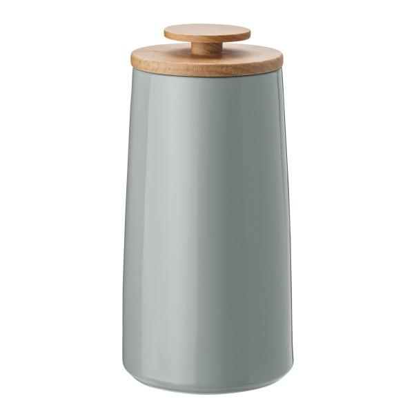 Aufbewahrungsdose in pastelligem mintgrün von Stelton Design. Design-Serie Emma. Keramikdose mit Holzdeckel. Teedose, Kaffeedose ...