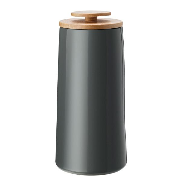 Emma Aufbewahrungsdose 500g in anthrazit grau von Stelton Design - Keramikdose mit Holzdeckel und Silikonring.