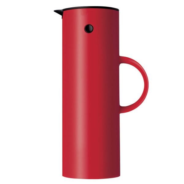 Einzelansicht der roten Stelton Isolierkanne EM77 mit 1 Liter Fassungsvermögen
