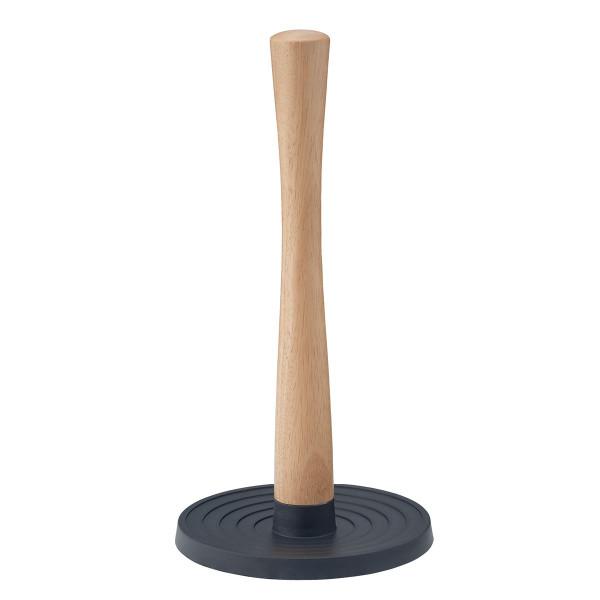Rollenhalter Rig-Tig by Stelton - schwarz - mit Holzstil aus Gummibaumholz