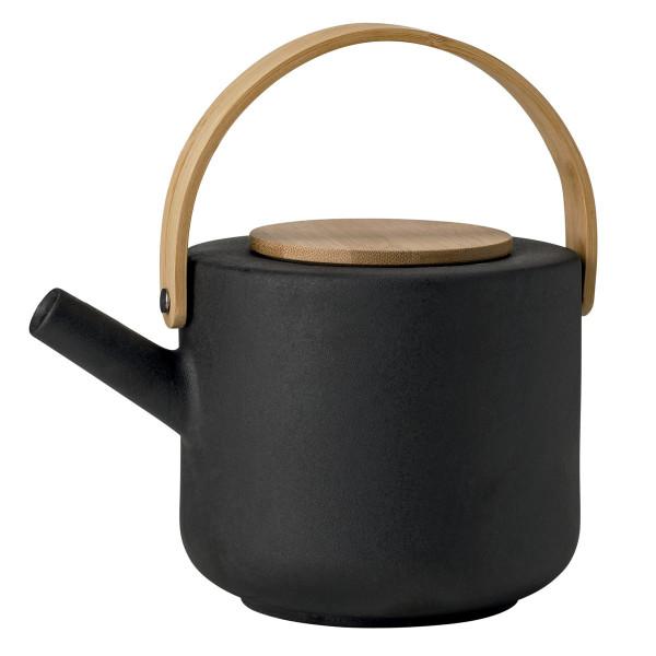 Stelton Teekanne Theo 1,25 l schwarz mit Bambus Holzgriff. Design Teekanne aus Steinzeug.