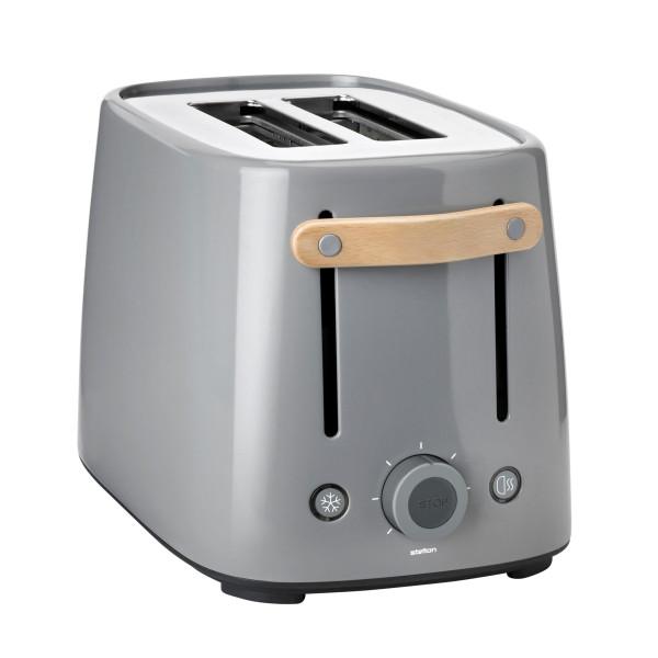 Wunderschöner Toaster von Stelton Design. Ein grauer, Design Toaster mit Holzgriff. Aus der Design-Serie Emma.