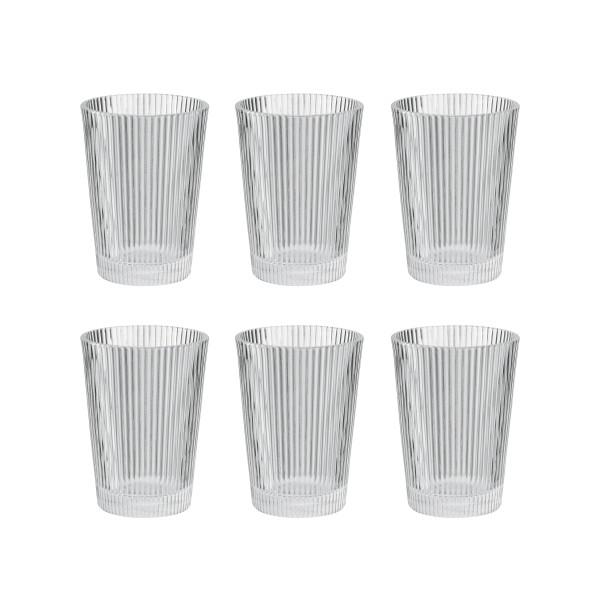 Geriffelte Trinkgläser 330 ml von Stelton. Design Wassergläser mit Rillung im Set a 6 Stück.