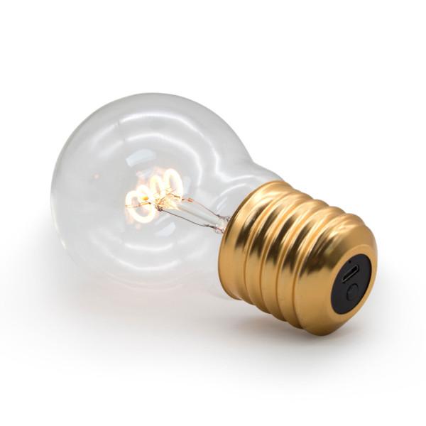 LED Glühbirne CORDLESS LIGHTBULB von SUCK UK. Akku Glühbirne mit USB-Anschluss und Schalter. Design Legelampe / Leuchte LED.