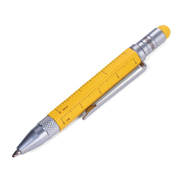 Gelber Multitasking Mini Kugelschreiber von TROIKA.