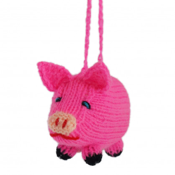 Schweinchen mit Aufhänger gestrickt - handmade in Peru von Hirtinnen -  10 cm - pink - Titicaca Trade