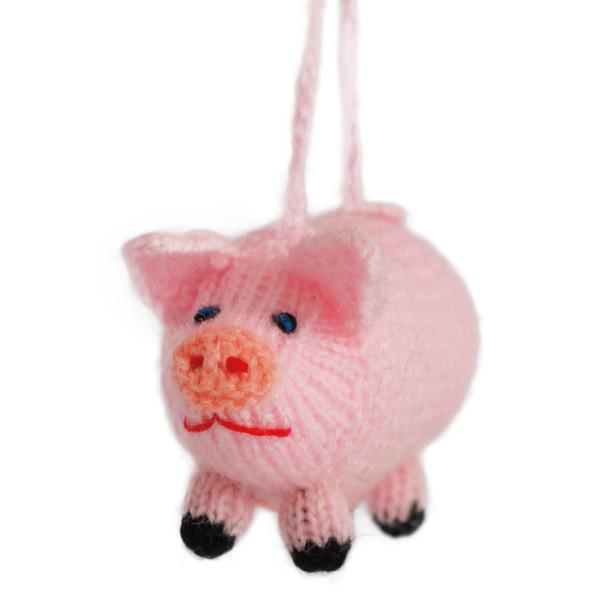 Schweinchen mit Aufhänger gestrickt - handmade in Peru von Hirtinnen -  10 cm - rosa - Titicaca Trade