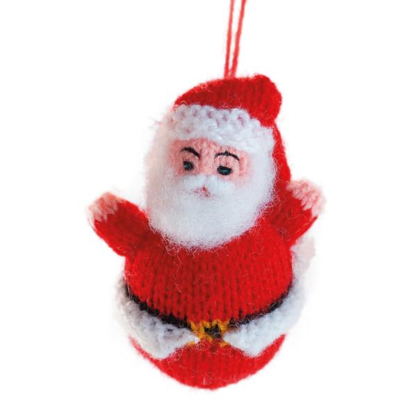 Weihnachtsmann mit Aufhänger gestrickt - handmade in Peru von Hirtinnen -  7,5 cm - rot - Nikolaus, Santa Claus - Titicaca Trade