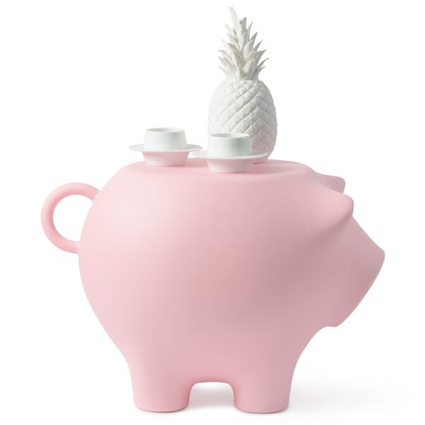 Beistellschwein - Hocker, Beistelltisch, Designobjekt und mehr! Das große XXL Schwein von Werkwaardig aus Kunststoff - Modell rosa / baby pink.